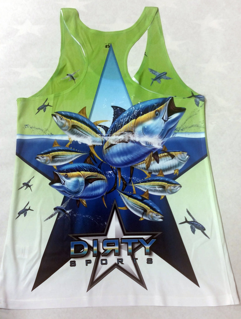 Women's Green TANK w/DIRTY Star Logo on Front, Tuna School on Back