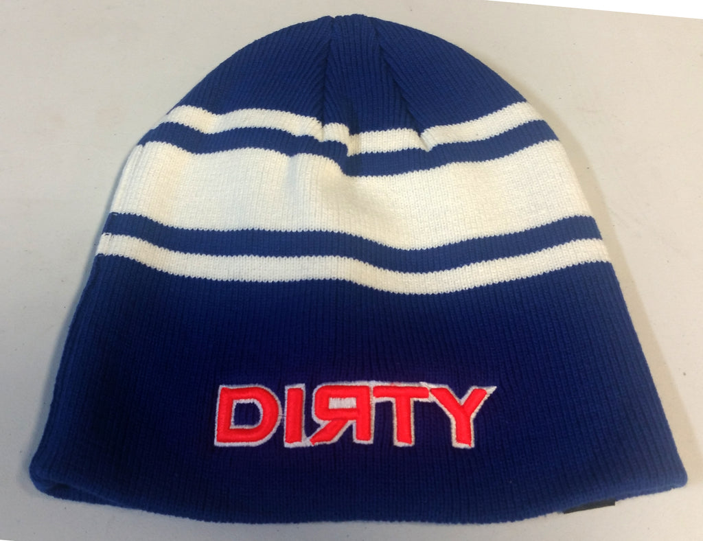 HAT - PACIFIC Knit BEANIE, Style 632K  - Royal Blue & White, Neon Orange Dirty Sports logo