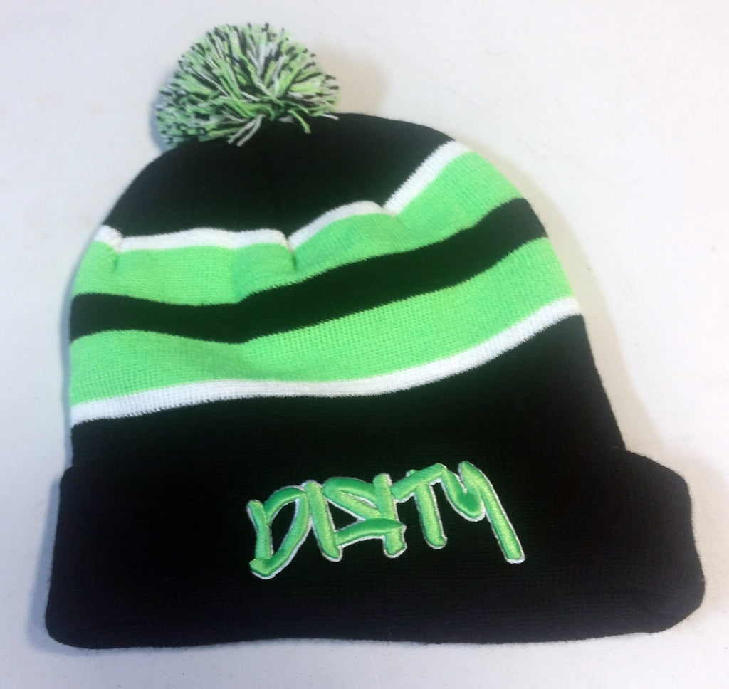 HAT - PACIFIC Knit  Pom Pom BEANIE, Style 641K  - Black & Neon Green, Dirty Graffiti logo