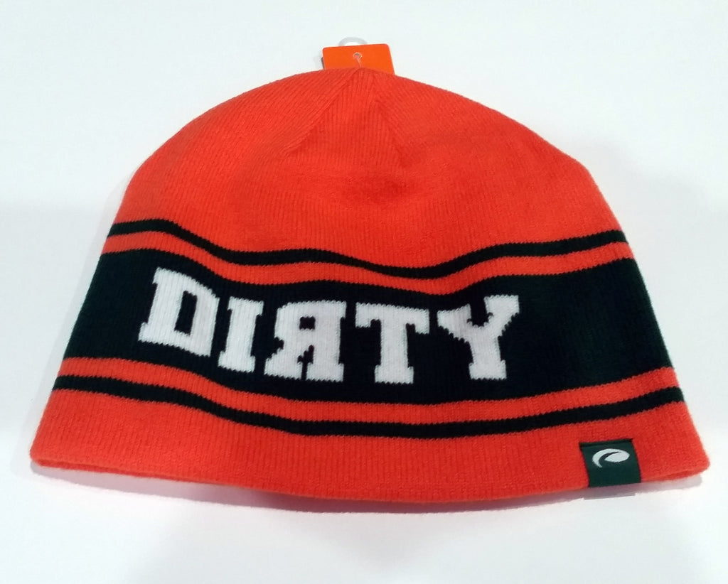 HAT - PUKKA Knit BEANIE  - ORANGE and Green with White DIRTY