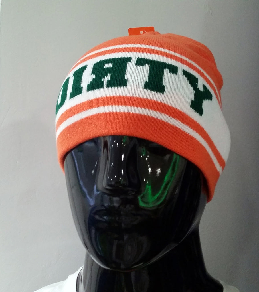 HAT - PUKKA Knit BEANIE  - ORANGE and White with Green DIRTY