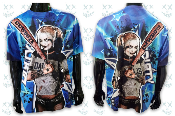 Harley Quinn, Dallas Cowboys FULL - Short Sleeve Polyester Shirt