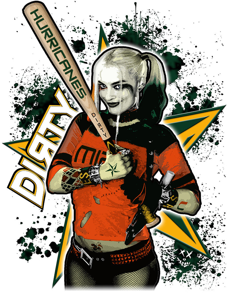 Harley Quinn, Miami Hurricanes FULL - Short Sleeve Polyester Shirt