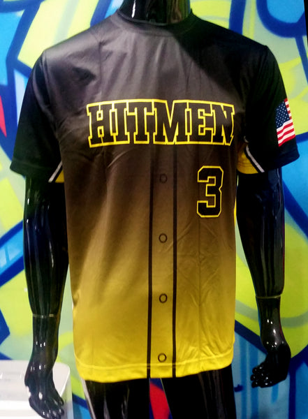 Hitmen, Yellow Fade, Faux Buttons - Custom Full-Dye Jersey