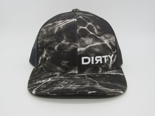 Snap Back - Agua Camo Black & White, Black mesh back, White DIRTY Logo #384