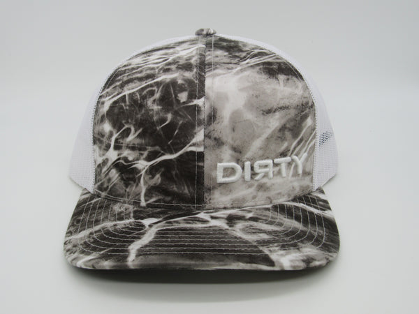Snap Back - Agua Camo Grey & White, White mesh back, White DIRTY Logo #383
