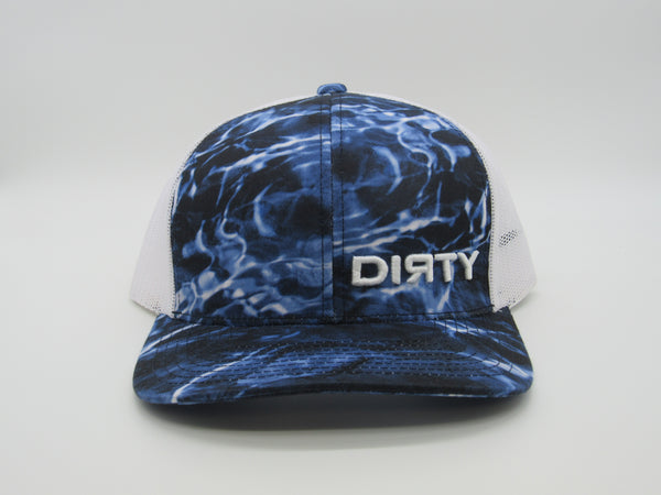 Snap Back - Agua Camo Blackfin & White, White mesh back, White DIRTY Logo #386