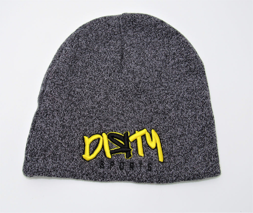 Heather Beanie - Yellow and Black Dirty Logo
