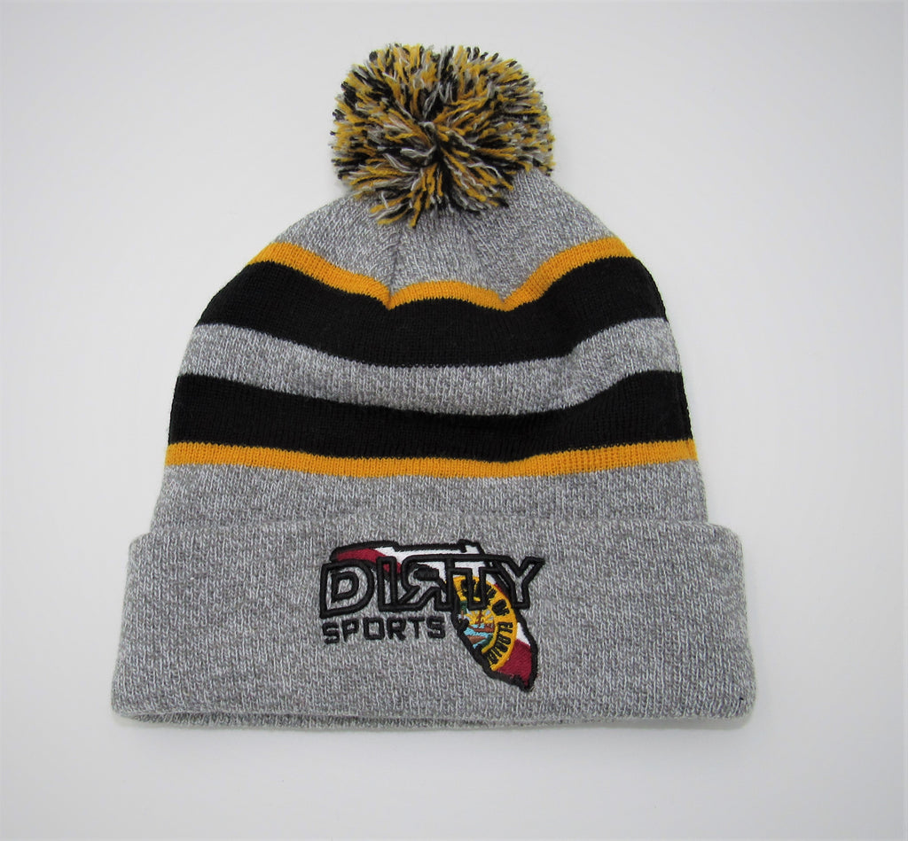 PACIFIC Knit  Pom Pom BEANIE, Style 641K  - Black, Heather Gray, & Yellow , Florida DIЯTY Logo
