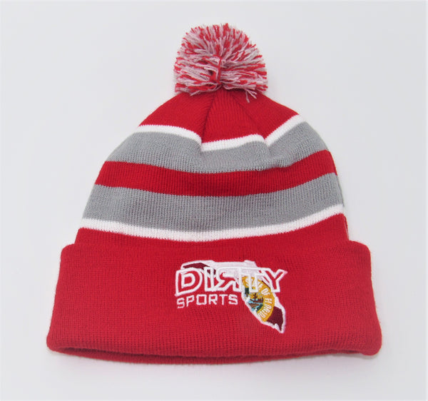 PACIFIC Knit  Pom Pom BEANIE, Style 641K  - Red, Gray, & White , Florida DIЯTY Logo
