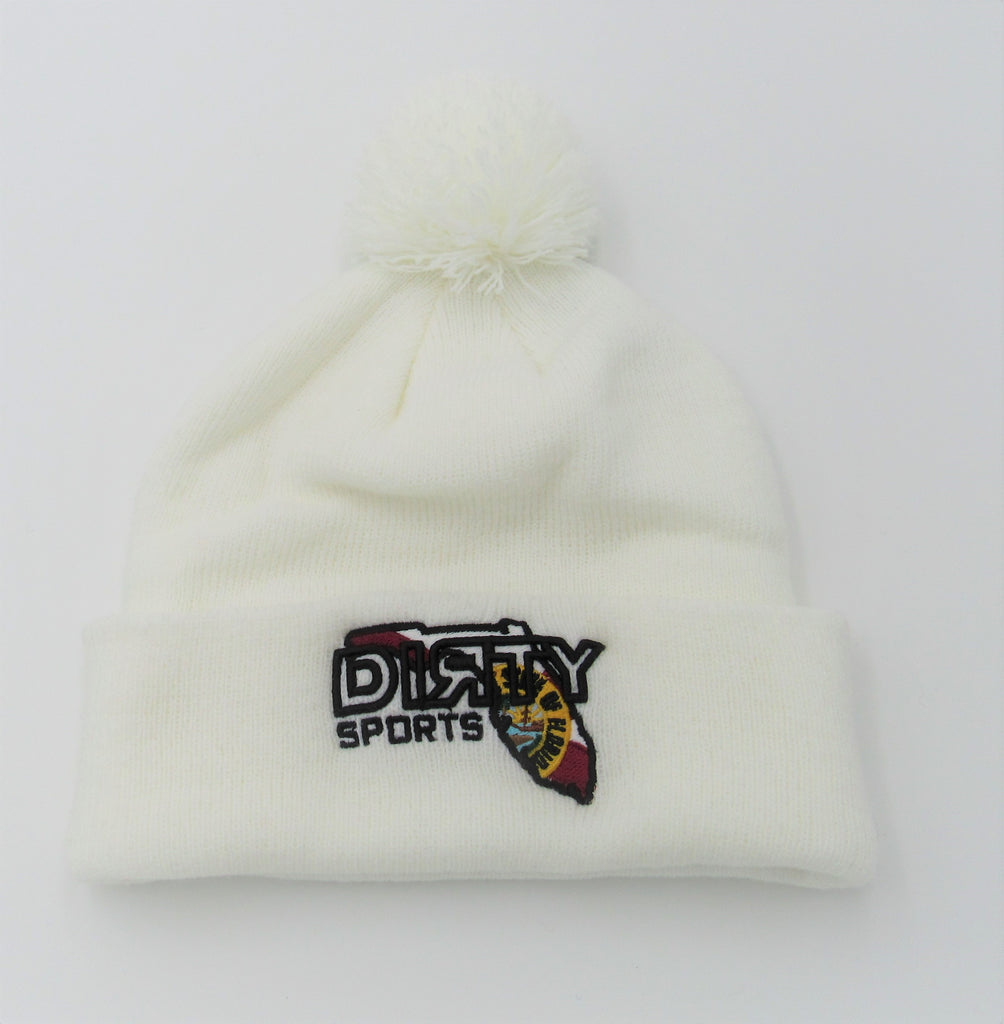 PACIFIC Knit  Pom Pom BEANIE, Style 641K  -Winter White , Florida DIЯTY Logo