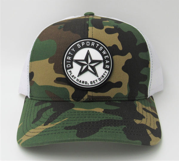 #351 Green Camo & White - Dirty Sports Star Rubber Patch