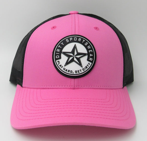 #346 Hot Pink & Black - Dirty Sports Star Rubber Patch