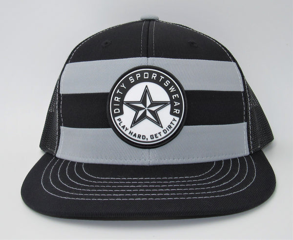 #348 Gray & Black Striped Flat Bill- Dirty Sports Star Rubber Patch