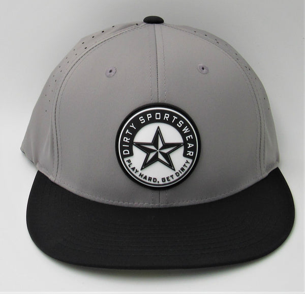 #260 Gray & Black Hat - Dirty Sports Star Rubber Patch