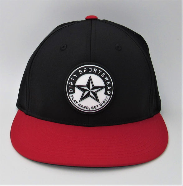 #327 Black & Red  Hat - Dirty Sports Star Rubber Patch