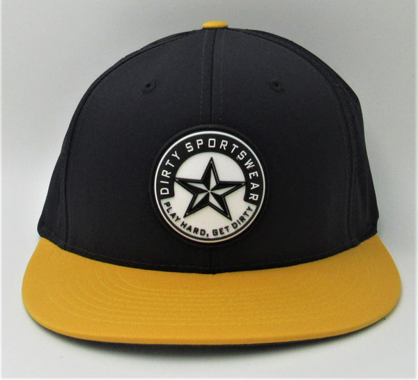 #328 Navy & Gold Hat - Dirty Sports Star Rubber Patch