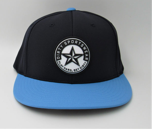#329 Navy & Carolina Blue  Hat - Dirty Sports Star Rubber Patch