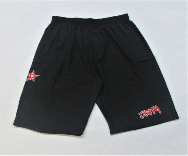 4-WAY STRETCH SHORT- Black with Red Dirty Graffiti Logo