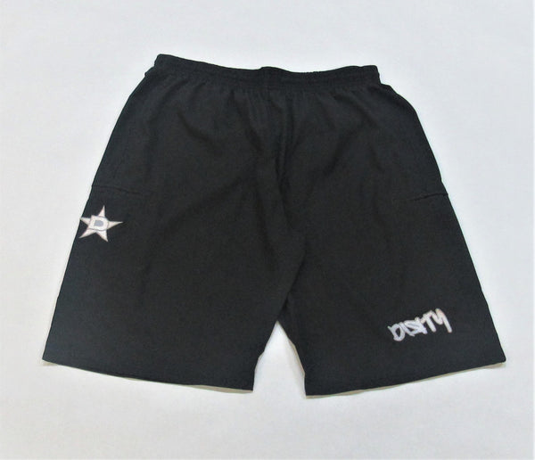 4-WAY STRETCH SHORT Black with White Dirty Graffiti Logo