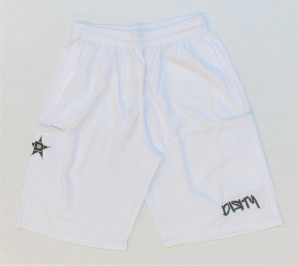 4-WAY STRETCH SHORT- White with Black Dirty Graffiti Logo