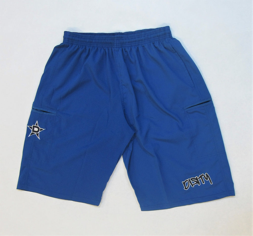 4-WAY STRETCH SHORT- Royal Blue with Black Dirty Graffiti Logo