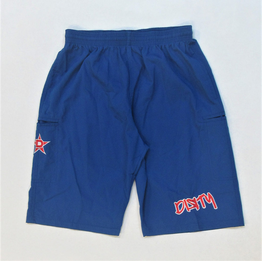 4-WAY STRETCH SHORT- Royal Blue with Red Dirty Graffiti Logo