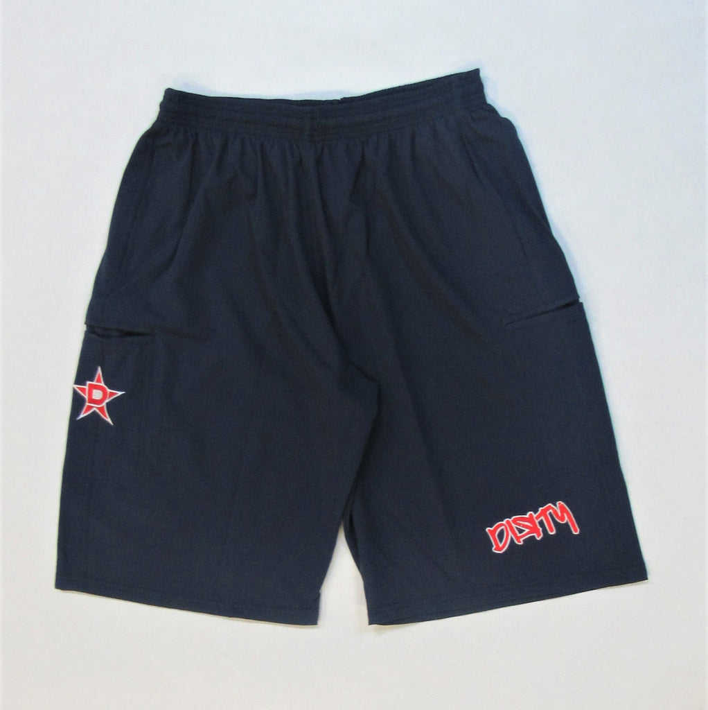 4-WAY STRETCH SHORT- Navy Blue with Red Dirty Graffiti Logo