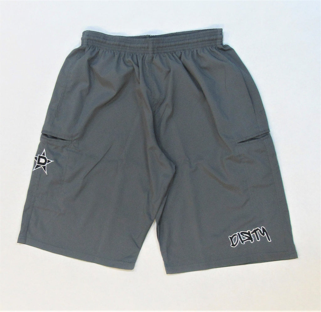 4-WAY STRETCH SHORT- Gray with Black Dirty Graffiti Logo