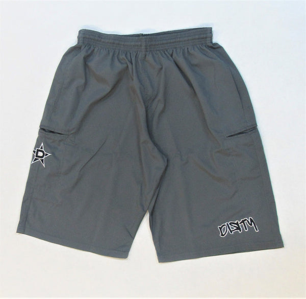 4-WAY STRETCH SHORT- Charcoal with Black Dirty Graffiti Logo
