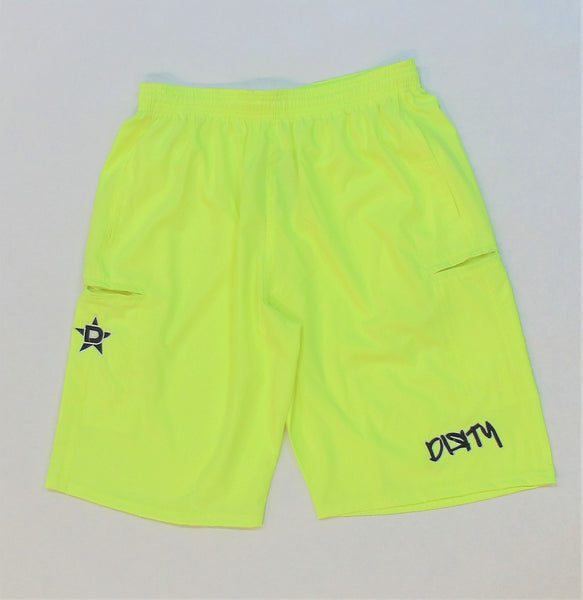 4-WAY STRETCH SHORT- Neon Yellow with Black Dirty Graffiti Logo