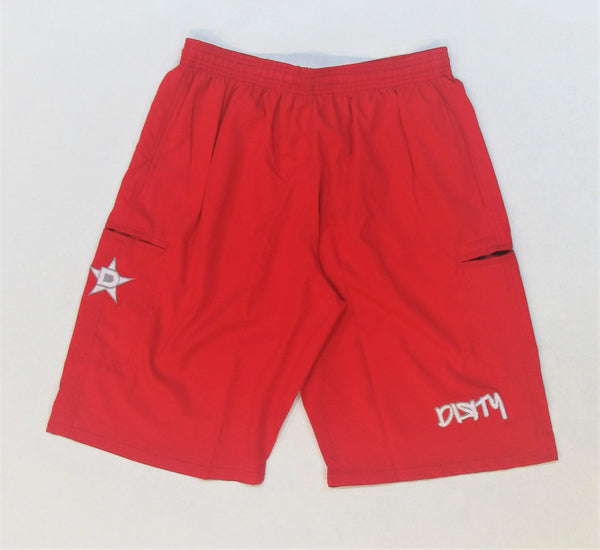 4-WAY STRETCH SHORT- Red with White Dirty Graffiti Logo