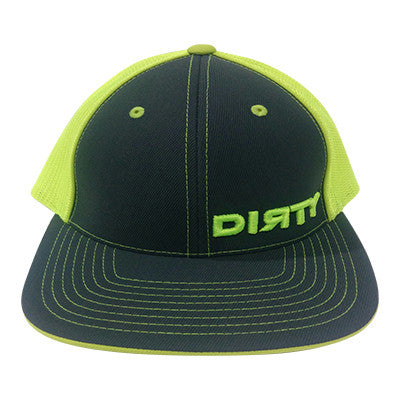 #74 Graphite & Neon Yellow Hat - Neon Yellow Dirty