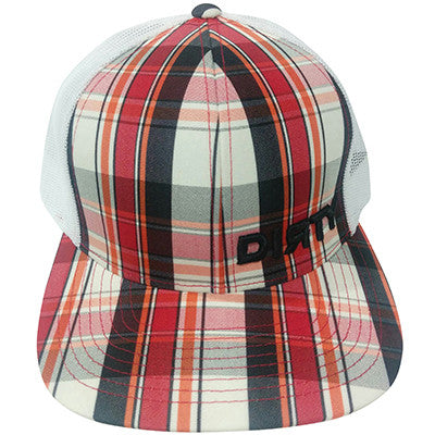Snap-Back Red & Black Plaid Hat w/ Black Dirty Corner #130