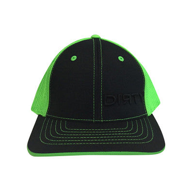 #52 Black & Neon Green Hat - Black Dirty Small