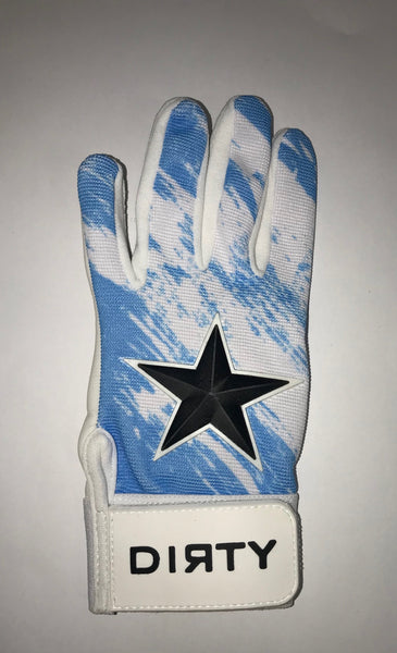 Dirty Sports, Batting Gloves - Black Star, White and Blue