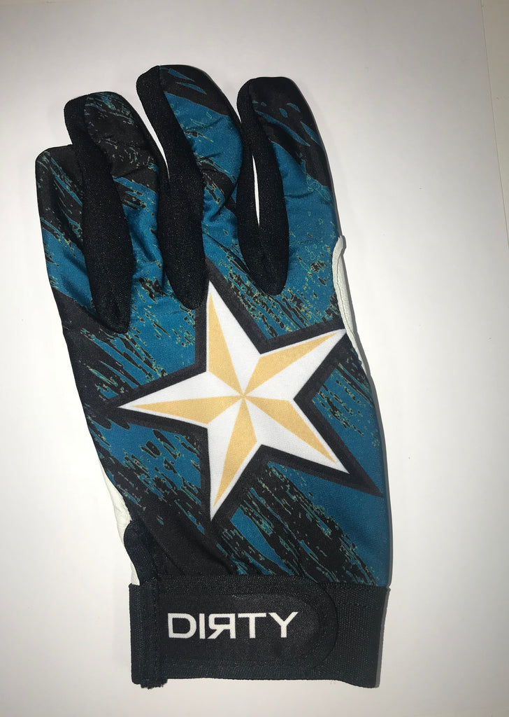 Dirty Sports, Batting Gloves -Teal and Black , White and Gold Star