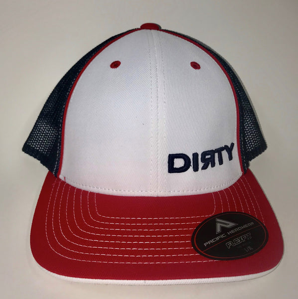 #275 White, Red and Navy Blue Hat - Small Navy Blue Dirty Logo