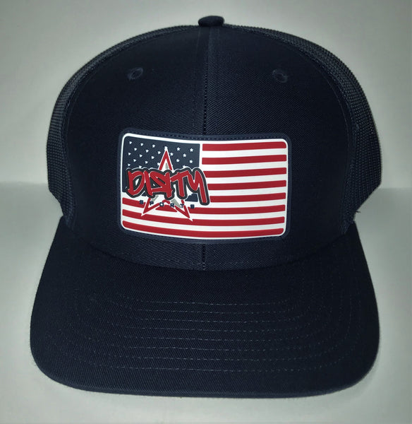 Snap Back Hat - NAVY -American Flag DIЯTY Sports Rubber Patch #301