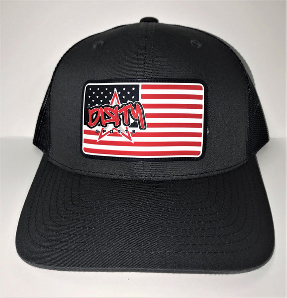 Snap Back Hat - Graphite & Navy  -American Flag DIЯTY Sports Rubber Patch #302