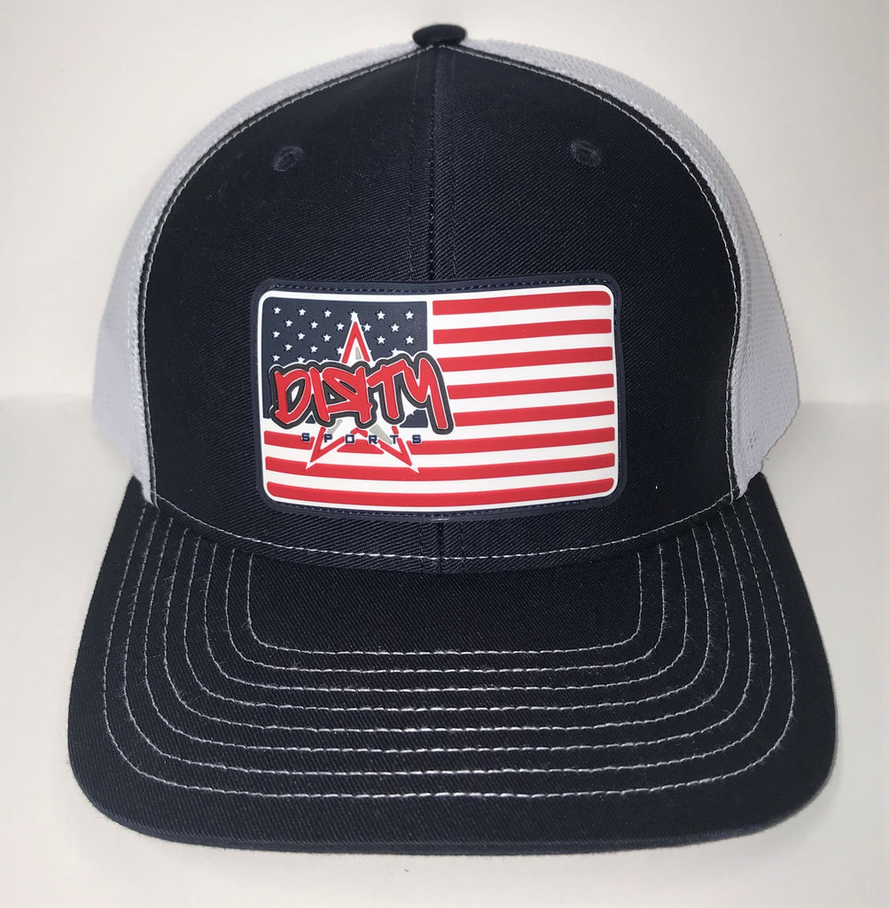 Snap Back Hat - Navy & White - American Flag DIЯTY Sports Rubber Patch #303