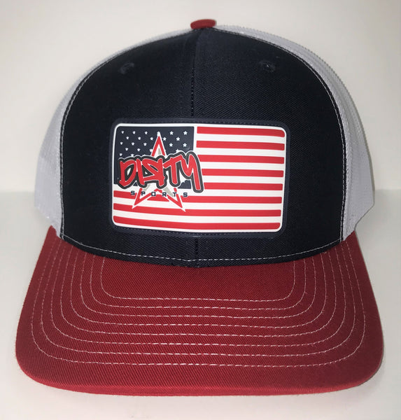 Snap Back Hat - Navy, Red & White -American Flag DIЯTY Sports Rubber Patch #300