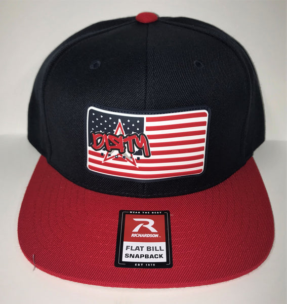 SNAP BACK HAT - NAVY & RED - AMERICAN FLAG DIЯTY SPORTS RUBBER PATCH #304