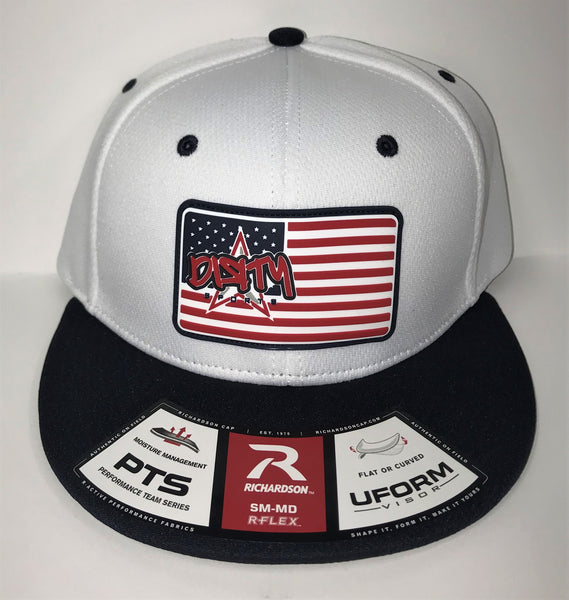 #305 White & Navy Hat - AMERICAN FLAG DIЯTY SPORTS RUBBER PATCH