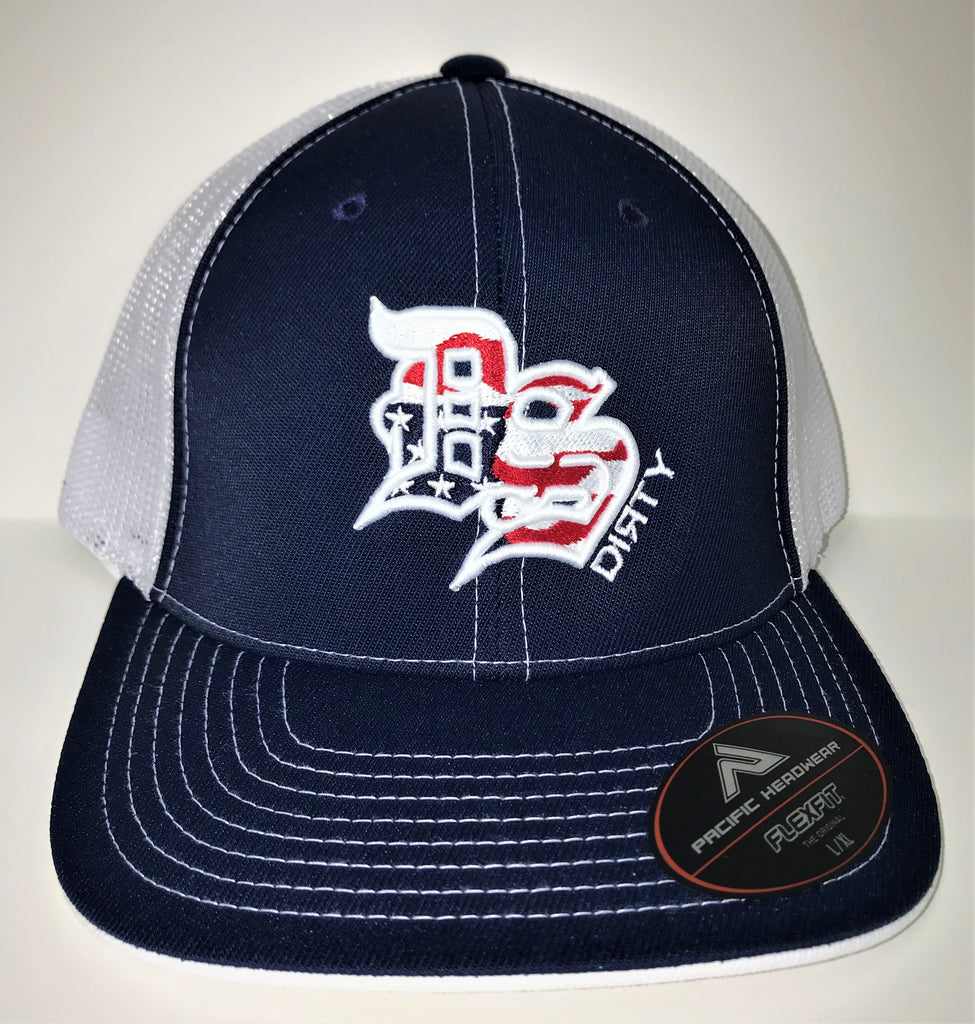 #307 Navy Blue and White Mesh Hat -America Flag DS Dirty Logo