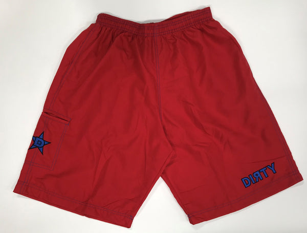 Dirty Sports, Micro Fiber Shorts - Red, Blue logo