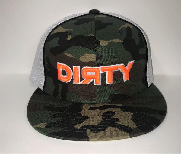 #08 Army Camo Hat - Neon Orange Dirty w/ White Outline
