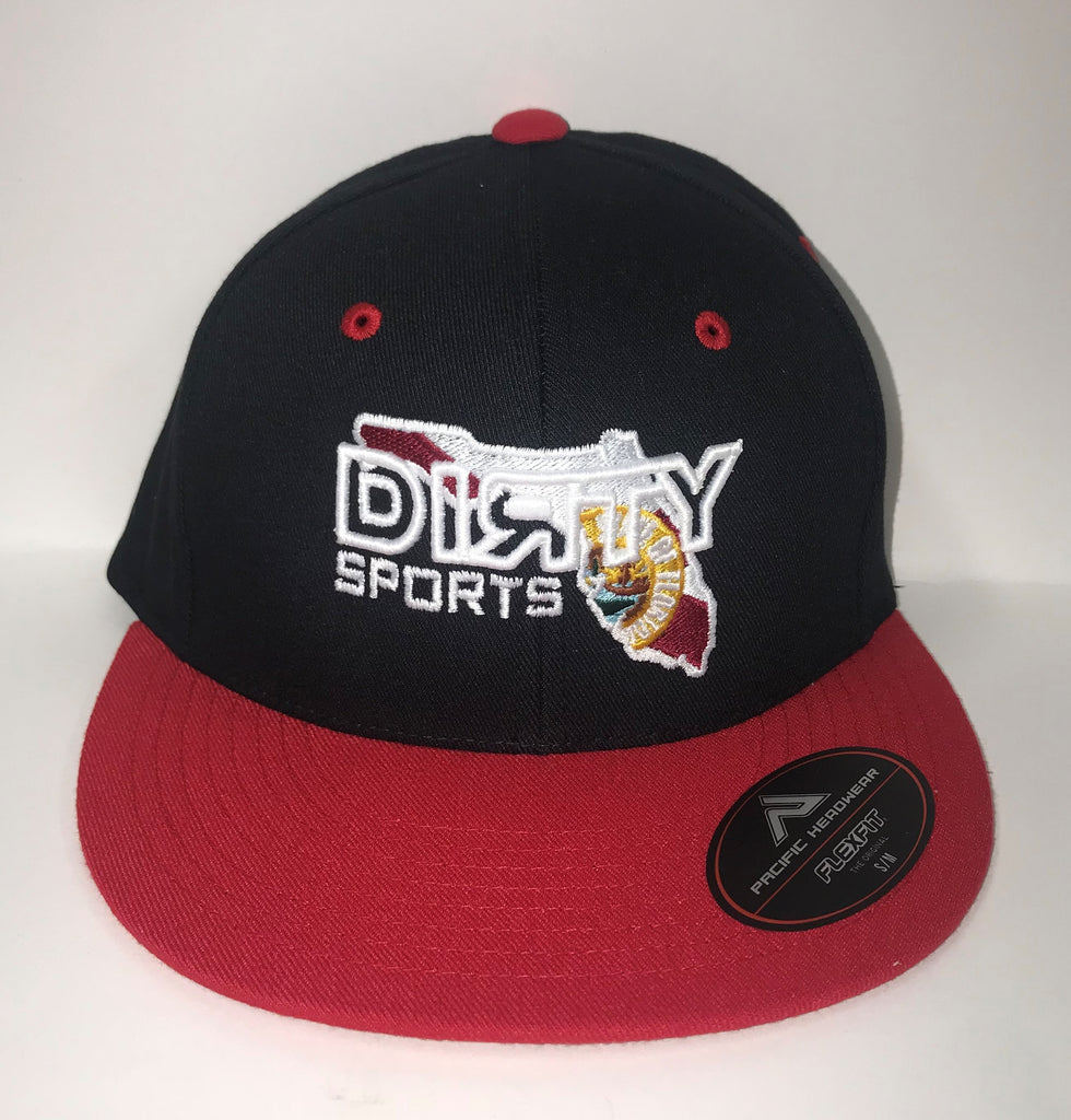 #310 Black & Red  Fitted Hat - White Dirty Florida logo