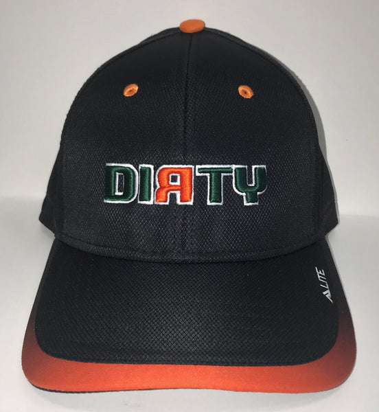 Snap Back Hat - Black & Orange - Dirty Logo in MIAMI HURRICANES Font  #313