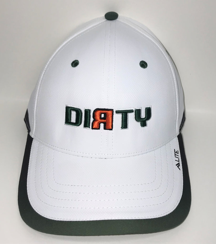 Snap Back Hat - White & DkGreen - Dirty Logo in MIAMI HURRICANES Font  #312